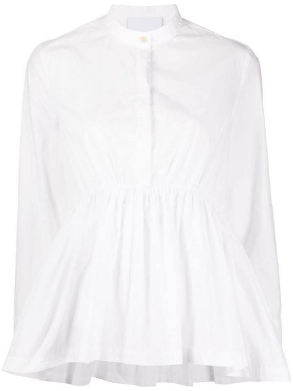 Erika Cavallini band-collar A-line blouse in white