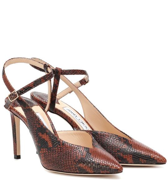 Jimmy Choo Sakeya 85 leather pumps in brown