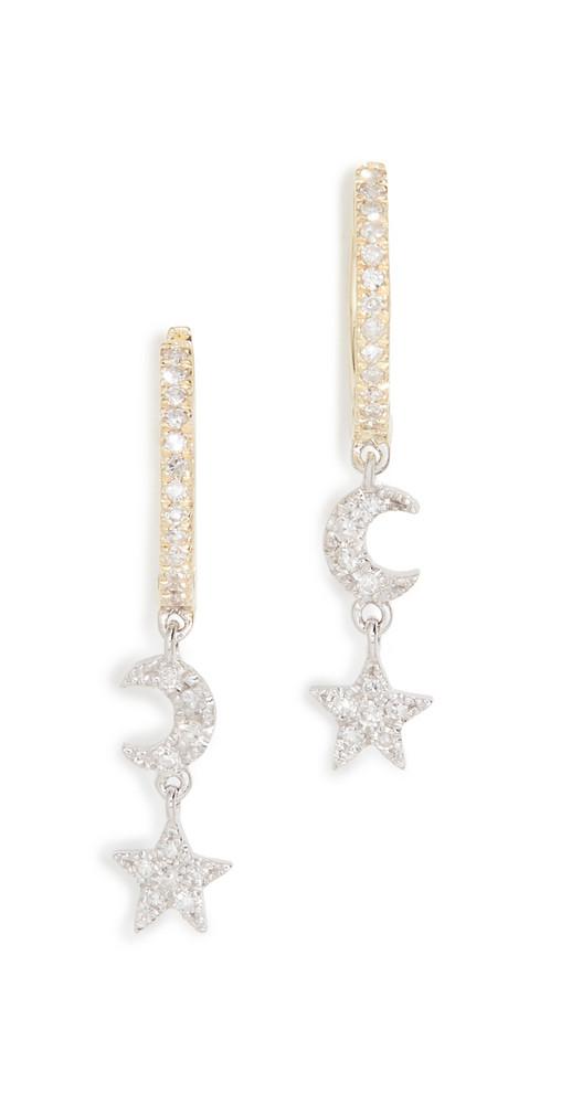 Meira T Moon Earrings in gold
