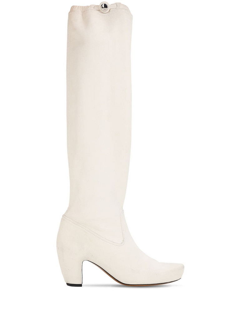 LANVIN 60mm Tall Leather Boots in white