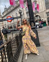 dress,floral dress,ruffle dress,one shoulder,ankle boots,crossbody bag