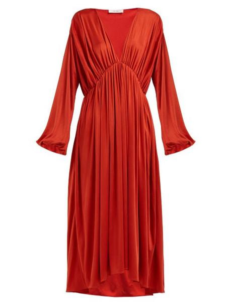 The Row - Sasha Balloon Sleeve Midi Dress - Womens - Red