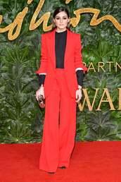 jacket,red suit,blazer,pants,wide-leg pants,olivia palermo,celebrity,blogger,top,red