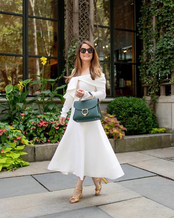 dress midi dress off the shoulder dress long sleeve dress sandal heels handbag