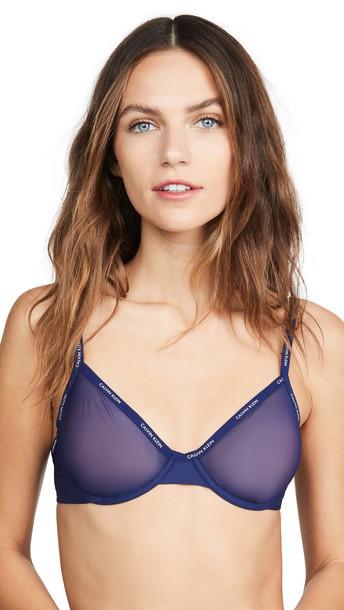 Calvin Klein Underwear Sheer Marquisette Unlined Demi Bra in purple