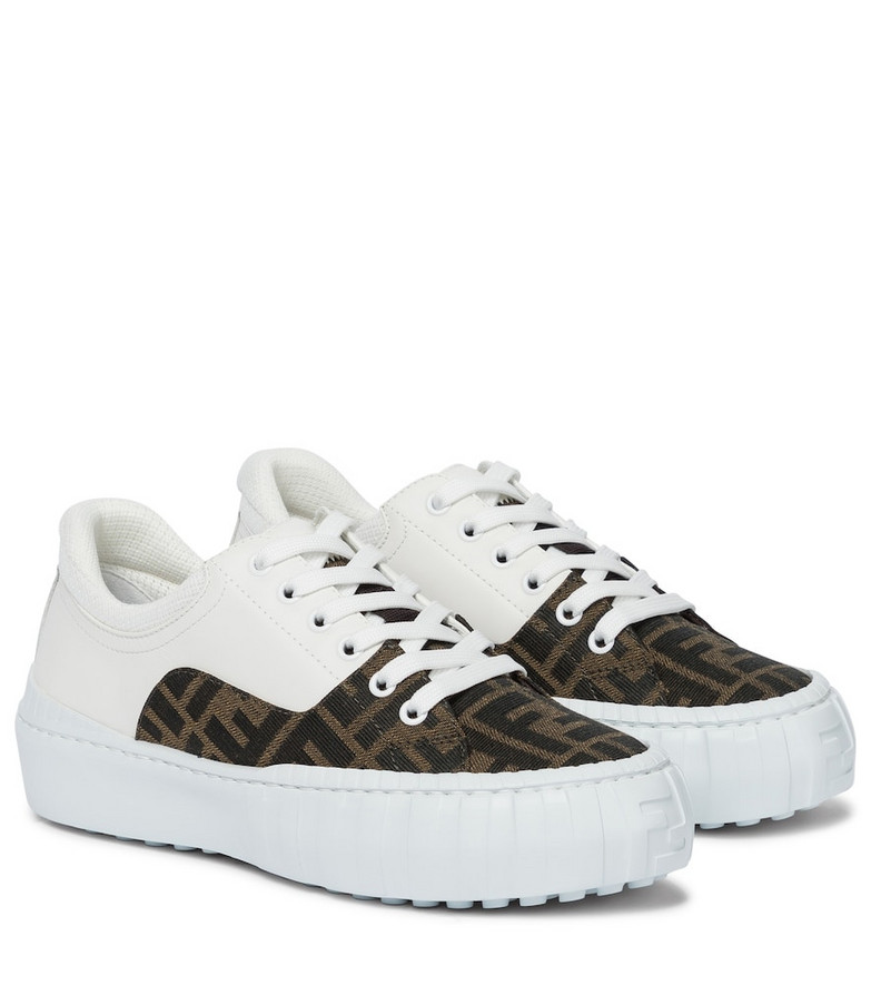 Fendi FF leather and canvas sneakers in white