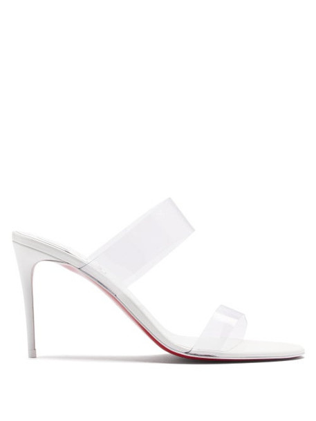 Christian Louboutin - Just Nothing 85 Pvc-strap Leather Mules - Womens - White
