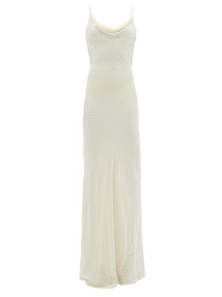 Rat & Boa - Cowl-neck Leopard Devoré-velvet Maxi Dress - Womens - Ivory