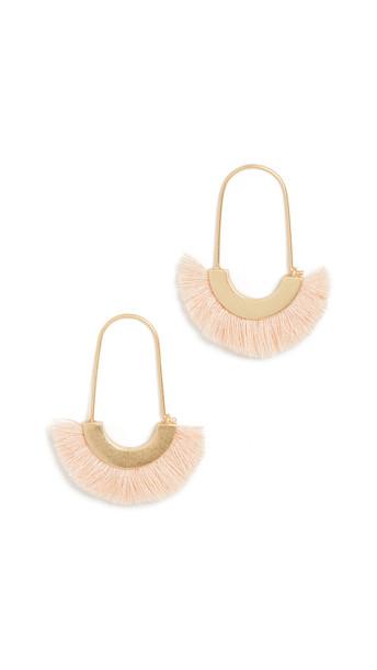 Madewell Arc Wire Fringe Earrings in cream / peach