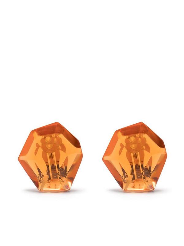 Monies large stone earrings in orange