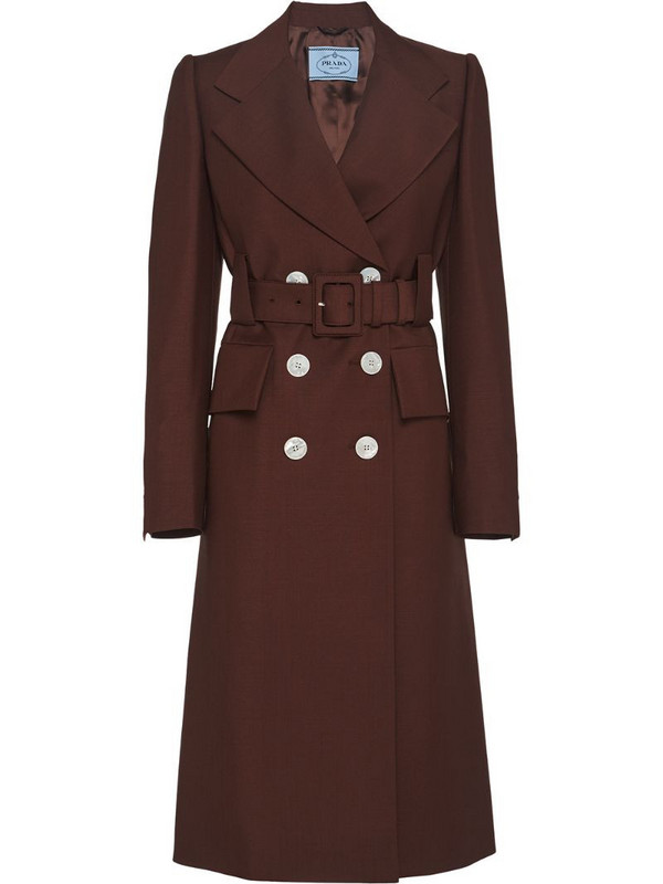 Prada double-breasted belted coat in brown