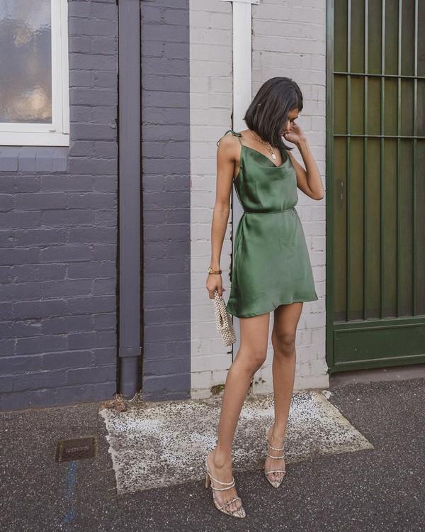 dress mini dress sleeveless slip dress sandal heels handbag