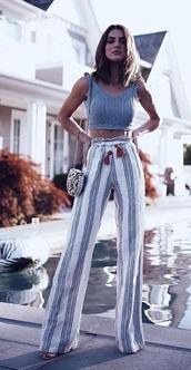 pants,striped pants,palazzo pants,paperbag pants,wide-leg pants
