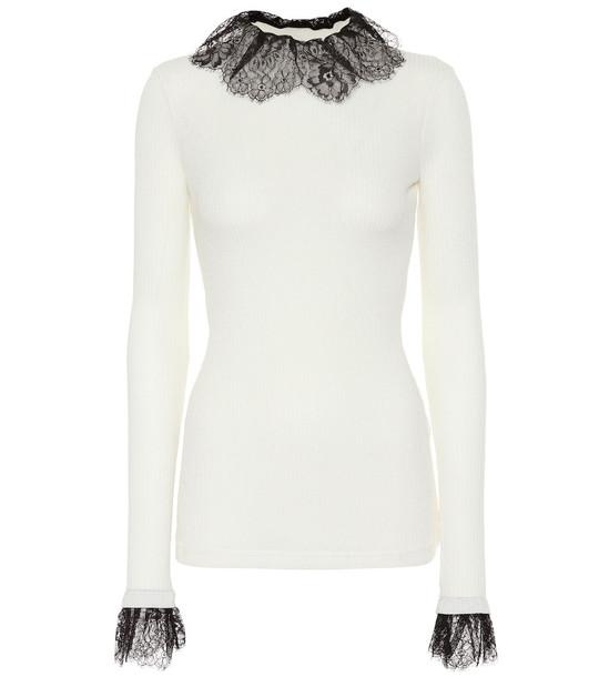 Philosophy Di Lorenzo Serafini Lace-trimmed wool-blend sweater in white