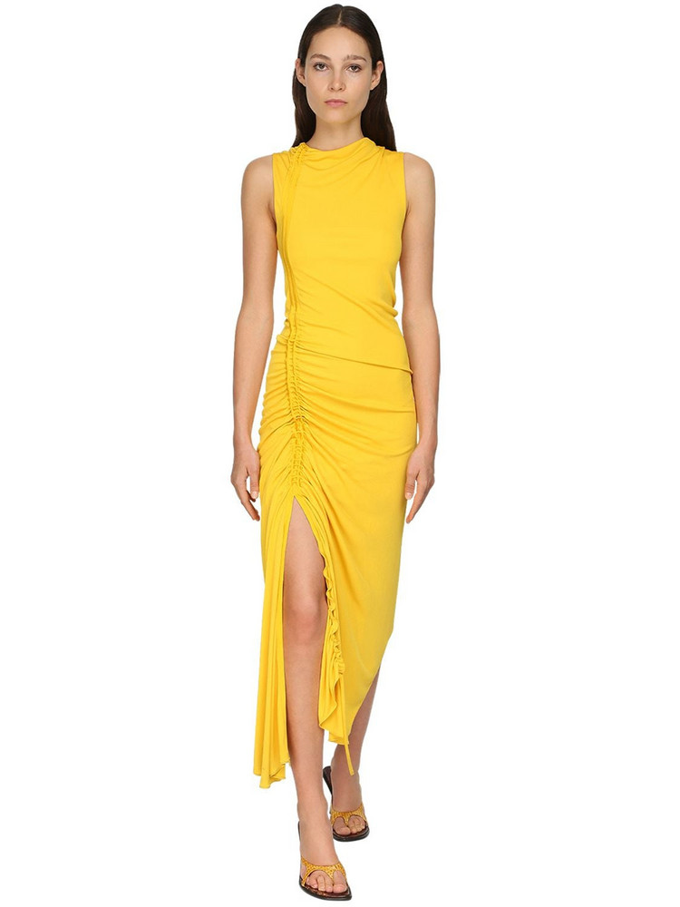 SIES MARJAN Ruched Matte Jersey Midi Dress in yellow