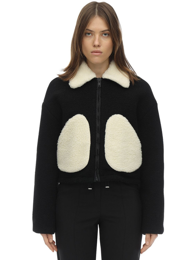 COURREGES Short Faux Shearling & Wool Jacket in black