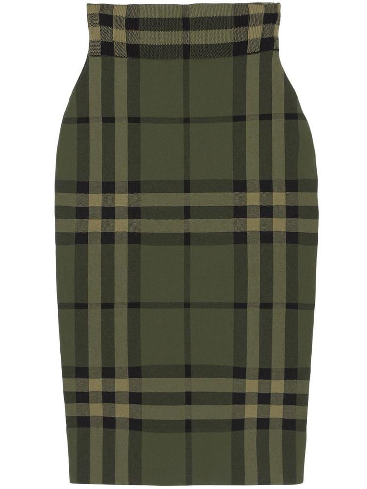 BURBERRY Kammie Check Silk Blend Pencil Skirt