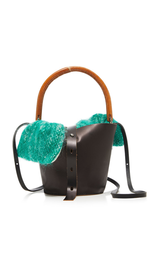 Muun Louise Leather Straw And Tweed Tote in black