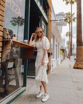 dress,white dress,maxi dress,long sleeve dress,white sneakers