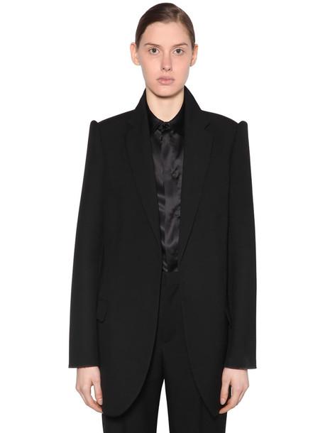 BALENCIAGA Wool Garbadine Blazer W/ 3d Sleeves in black