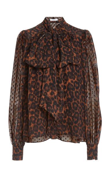 Erdem Lucien Leopard-Print Georgette Top in multi