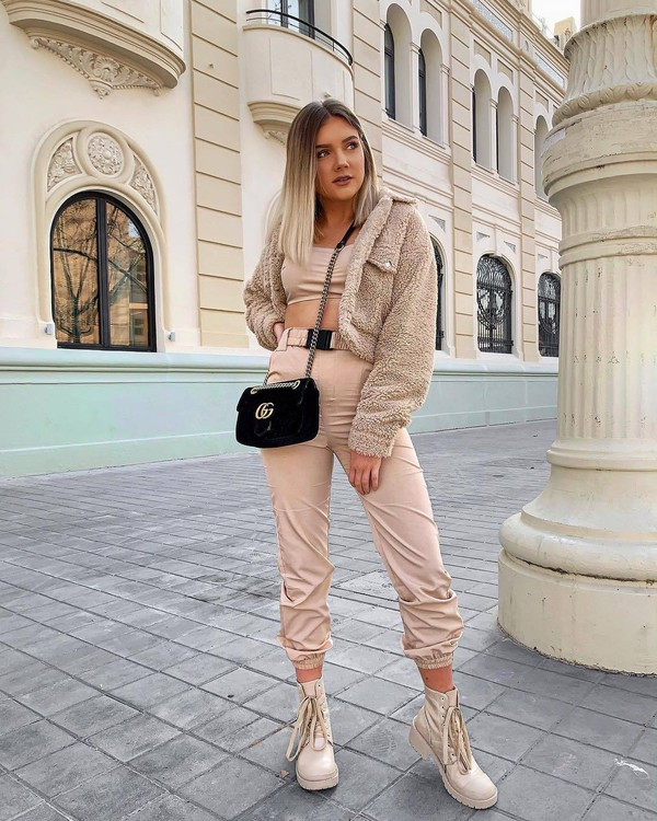 jacket teddy jacket high waisted pants ankle boots lace up boots black bag gucci bag crop tops