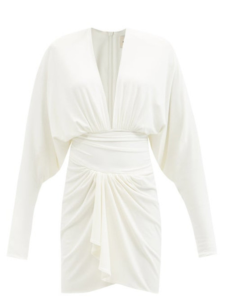Alexandre Vauthier - Plunge-neck Ruched Jersey Dress - Womens - Ivory