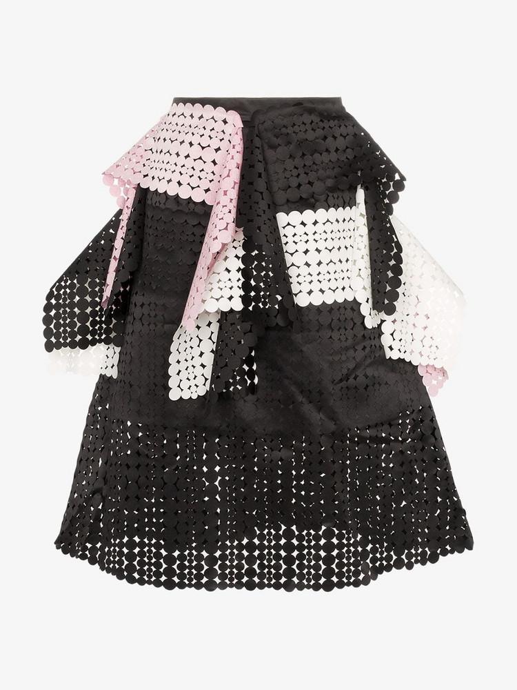 Paskal Laser-cut applique skirt in black / white