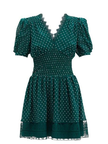 Self-portrait - Lace-trimmed Fil-coupé Chiffon Mini Dress - Womens - Green