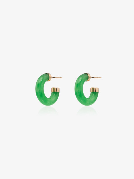 Loren Stewart 14kt gold jade mini hoop earrings
