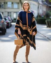 coat,cape,knee high boots,suede boots,chloe,ysl bag