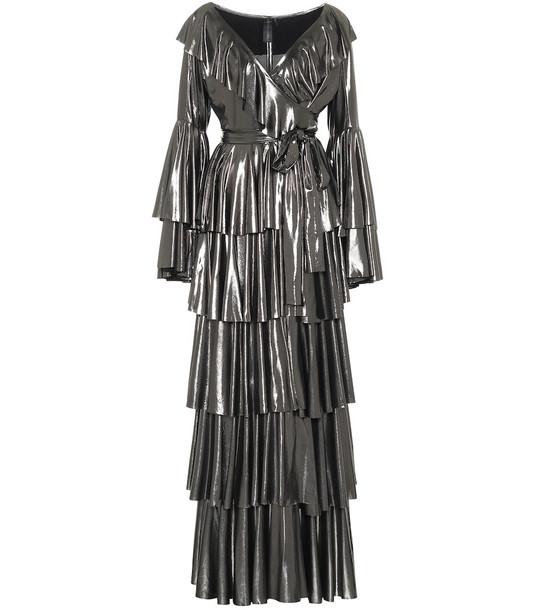 Norma Kamali Ruffled lamé maxi dress in metallic