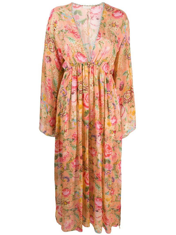Anjuna floral flared long-sleeve dress in pink