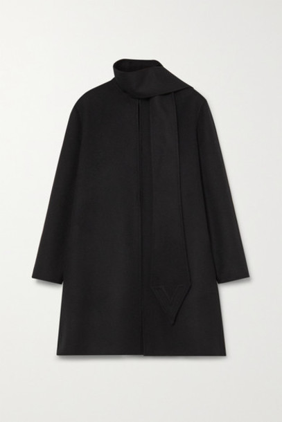 Valentino - Draped Wool And Cashmere-blend Felt Coat - Black