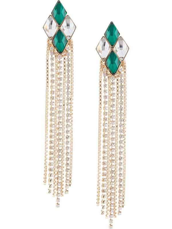 Anton Heunis crystal embellished earrings in green