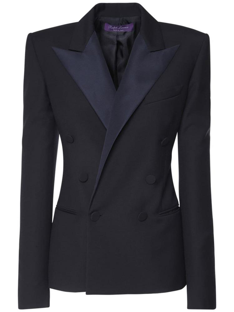 RALPH LAUREN COLLECTION Double Breast Wool Tuxedo Jacket in blue