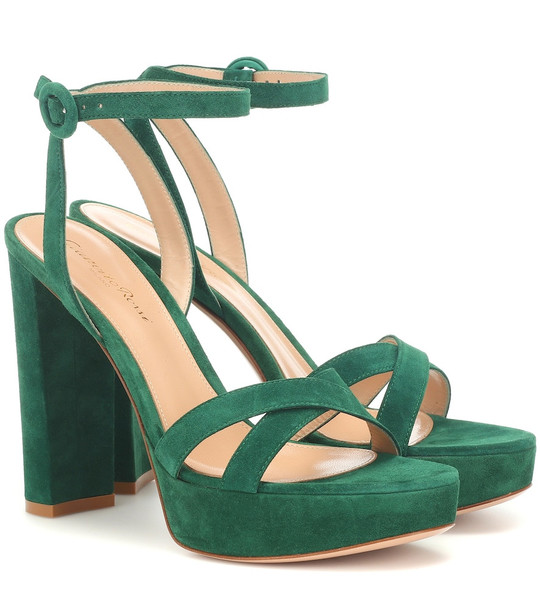 Gianvito Rossi Poppy 85 suede plateau sandals in green