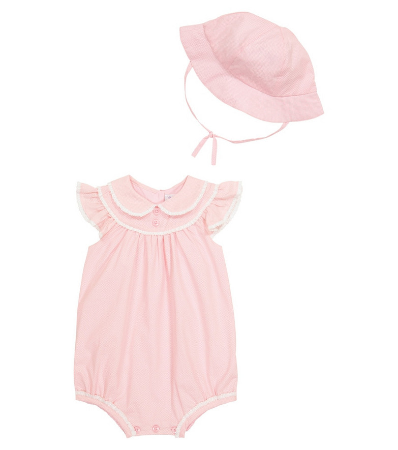 Rachel Riley Baby cotton playsuit and hat set in pink