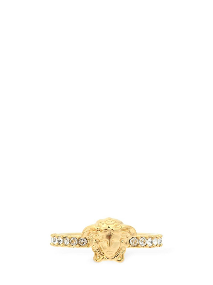 VERSACE Icon Strass Medusa Slim Palazzo Ring in gold