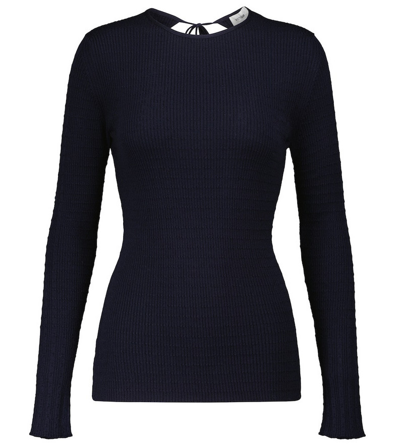 Victoria Beckham Ribbed-knit sweater in blue