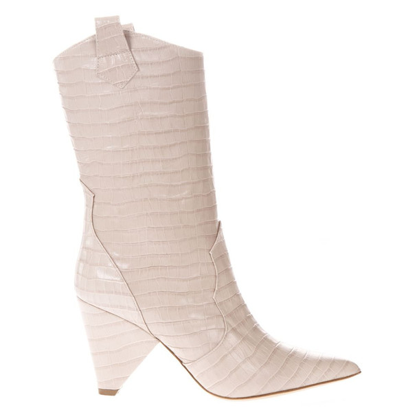 Aldo Castagna Boot In Beige Cocodrile Effect Leather