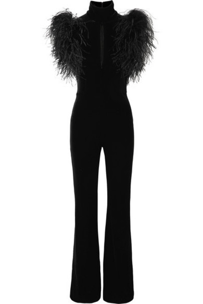 16ARLINGTON - Dunaway Feather-trimmed Stretch-velvet Jumpsuit - Black