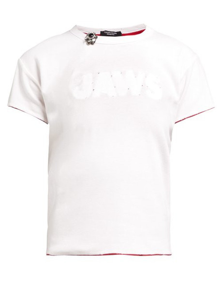 Calvin Klein 205w39nyc - Distressed Jaws Stitched Cotton T Shirt - Womens - White