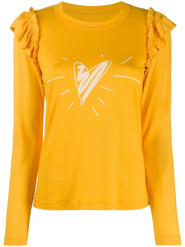 Viktor & Rolf x Calida heart-print ruffled T-shirt in yellow