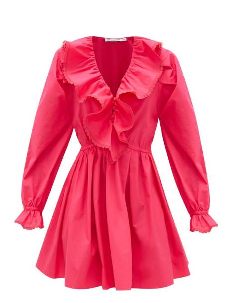 Self-portrait - Ruffled V-neck Cotton Mini Dress - Womens - Pink