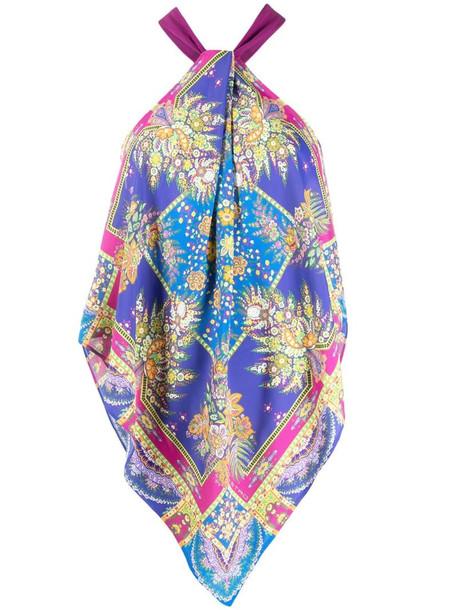 Etro scarf-print halterneck top in pink