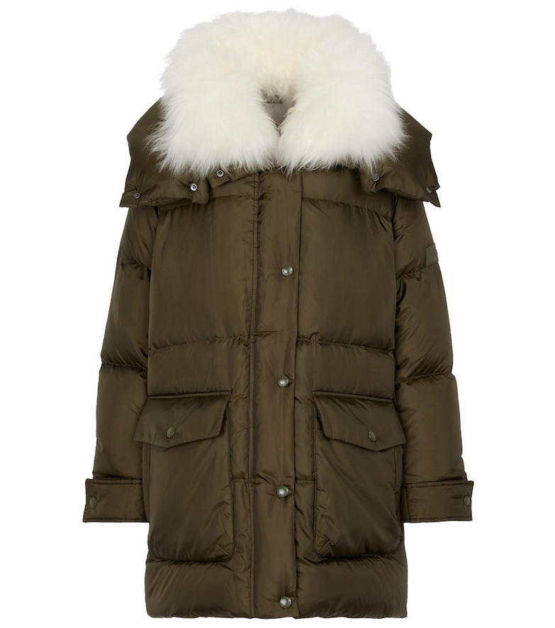 Yves Salomon Army shearling-trimmed down coat in green