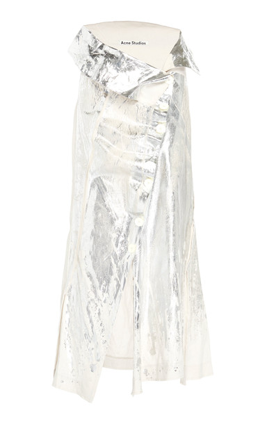 Acne Studios Ileana Metallic Linen Midi Skirt
