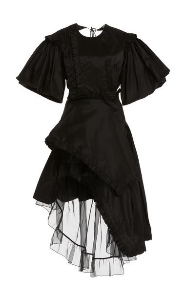 Preen by Thornton Bregazzi Gloria Asymmetric Tulle-Layered Satin Dress in black