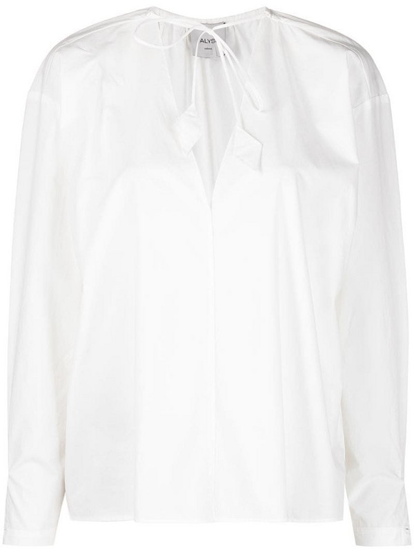 Alysi tie neck blouse in white